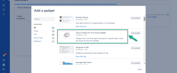 Time in Status for Jira Cloud Gadget on Dashboard