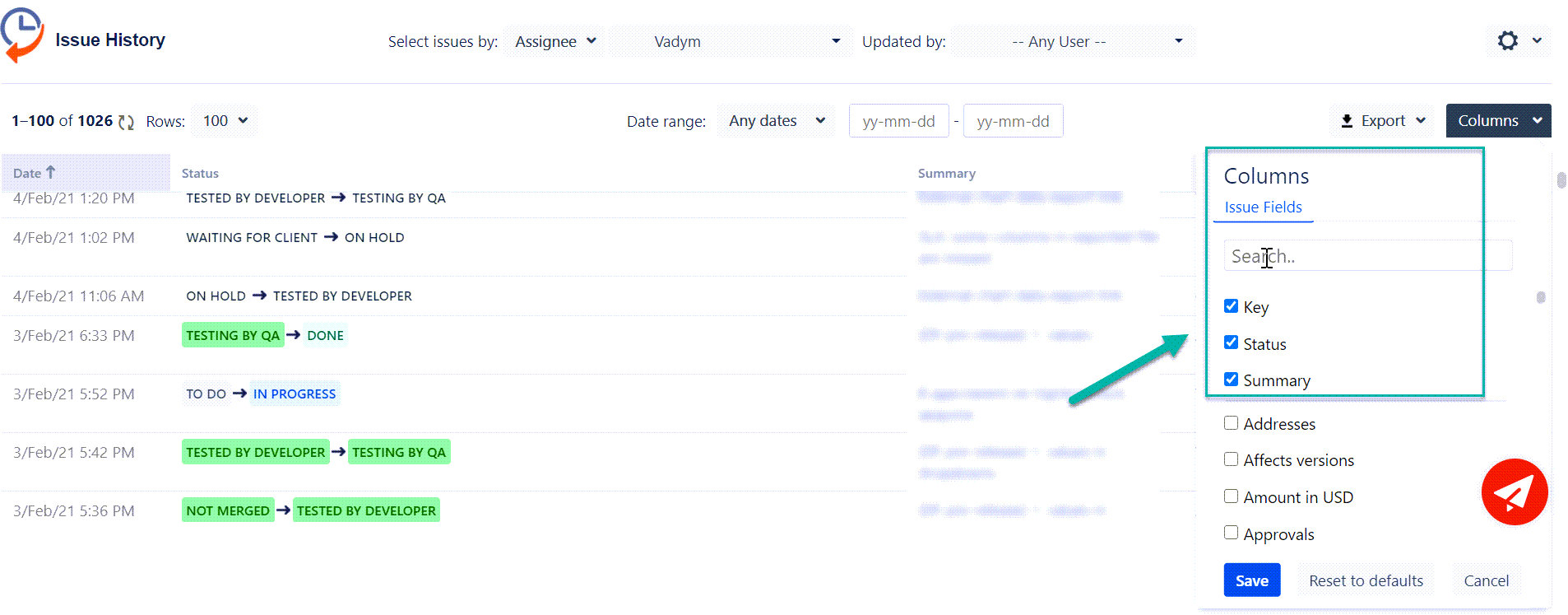 Issue History for Jira Cloud columns feature